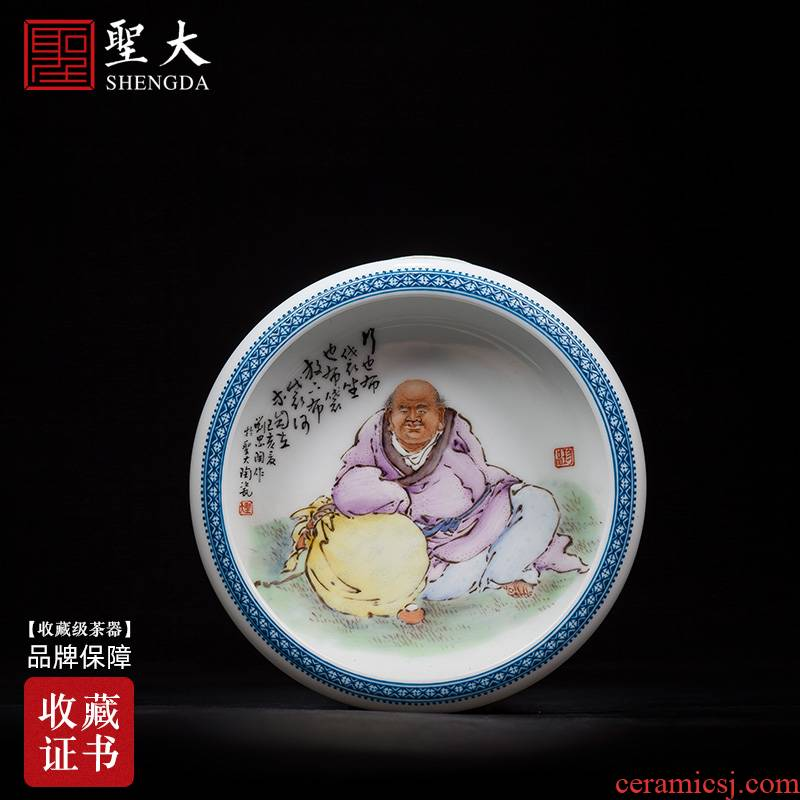 The big four pen lick furnishing articles of jingdezhen ceramic all hand antique wang pastel characters ocean 's bag is licking