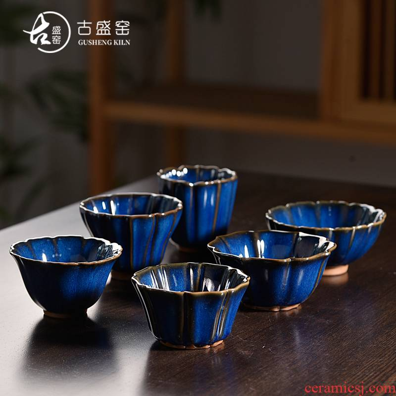 The ancient sheng up suit to build light ceramic cups temmoku glaze lamp variable of kung fu tea set a single home owner cup