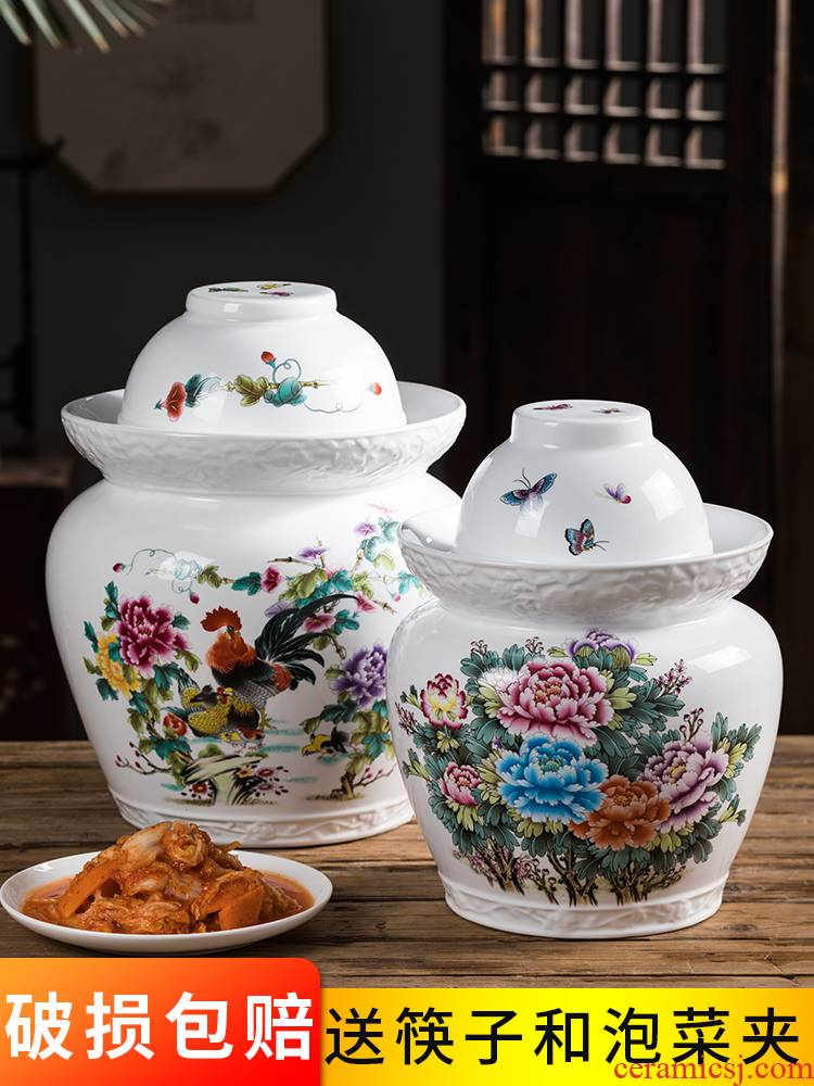 Jingdezhen ceramic pickle jar kimchi altar seal storage tank sichuan pickles pickled vegetables can double cover household