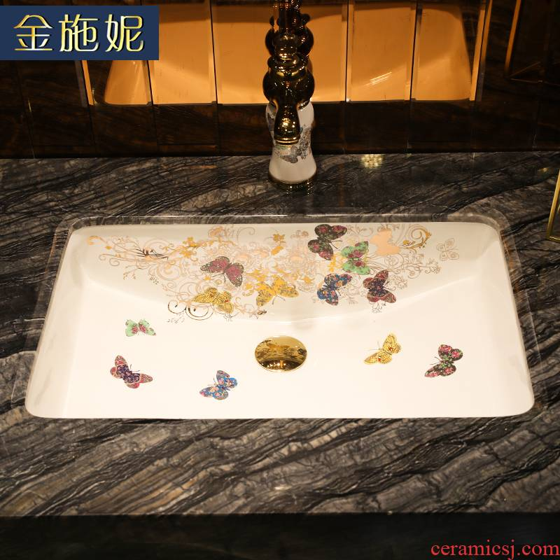 Butterflies fluttered ceramic art undercounter lavabo embedded size household bathroom sink hotel