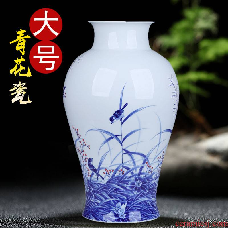 Jingdezhen ceramics by hand the draw reed bird blue and white porcelain vases, furnishing articles be born large flower arrangement sitting room decoration