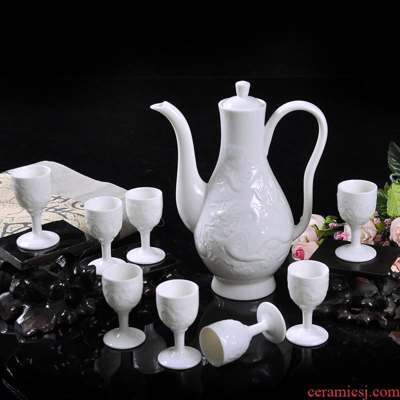 Jingdezhen ceramic wine suits for about nine cows pure white anaglyph dragon wine hip flask glass suite gift box