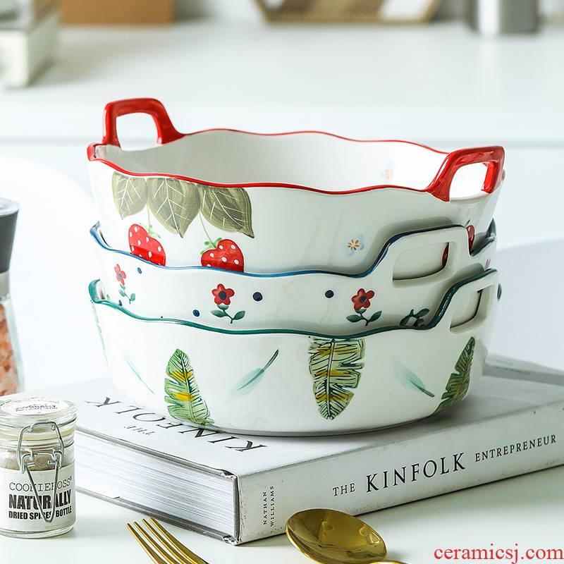 Japanese, lovely strawberry single handle roasted bowl ears baking cheese baked FanPan ceramic household vegetable salad bowl