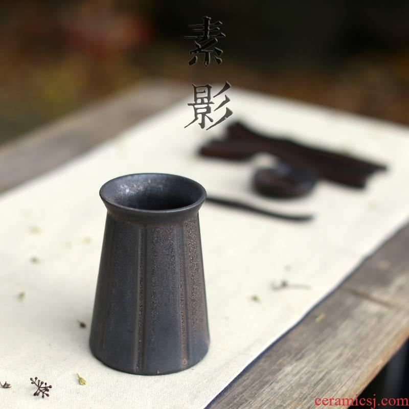 Qiao mu ore coarse pottery kung fu tea six gentleman retro gold up stone grain bamboo tea accessories tools