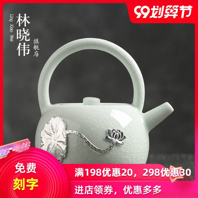 Hand your up ceramic tea single girder pot pot of longquan celadon silver kung fu tea ice to crack the xi shi pot of household