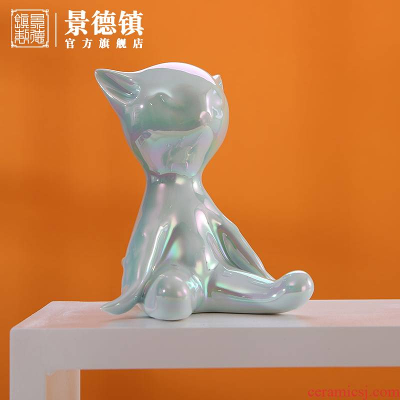 Jingdezhen flagship shop furnishing articles household act the role ofing is tasted, lovely cat finches household ceramic phone support gift boxes