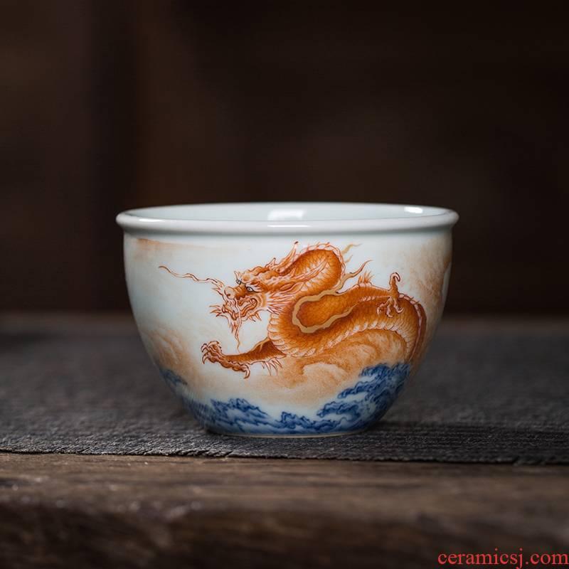 Owl up jingdezhen tea hand - made teacup alum red glaze porcelain dou dragon grain kung fu master cylinder cup a cup of tea cups