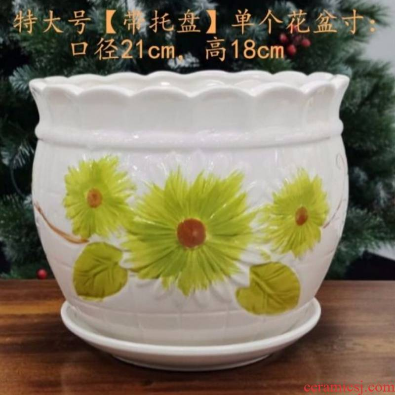 Special offer a clearance flowerpot ceramic flowerpot plastic tray with large plastic large extra large, fleshy flowerpot pack mail