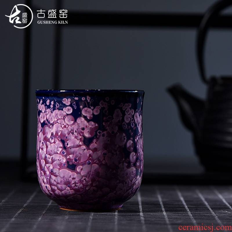 The ancient sheng up new egg cup and then built red glaze, ceramic colorful obsidian variable oil droplets master cup bowl