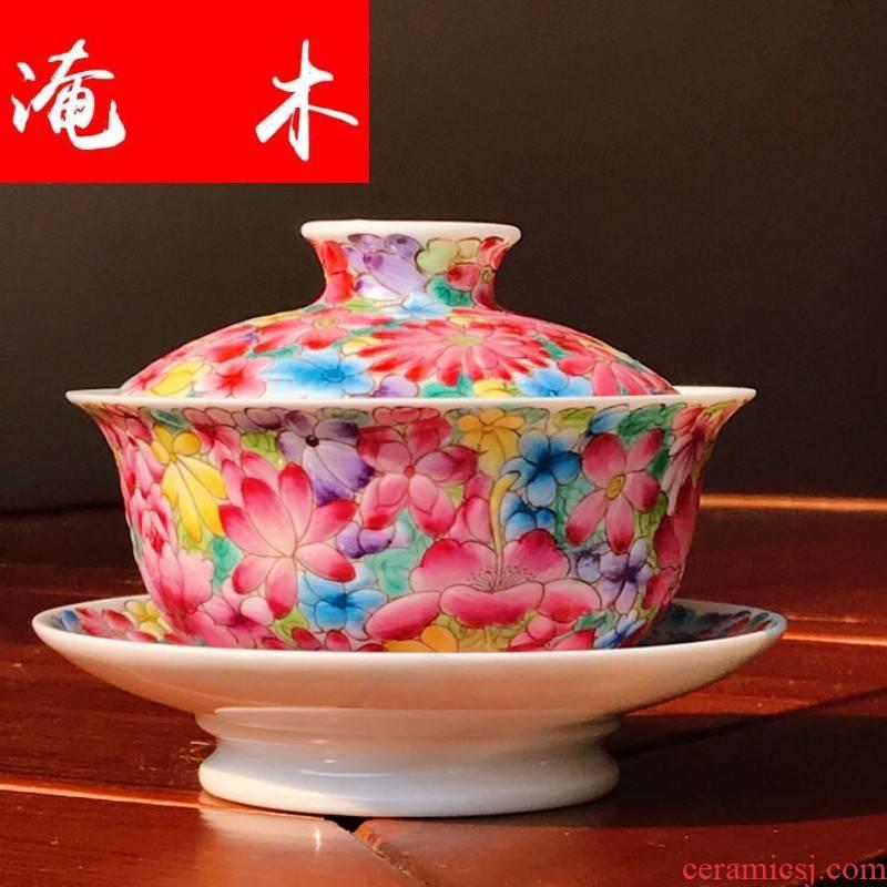 Submerged wood jingdezhen pure manual tire seiko hand - made colored enamel flower tea tureen enamel kung fu tea set three