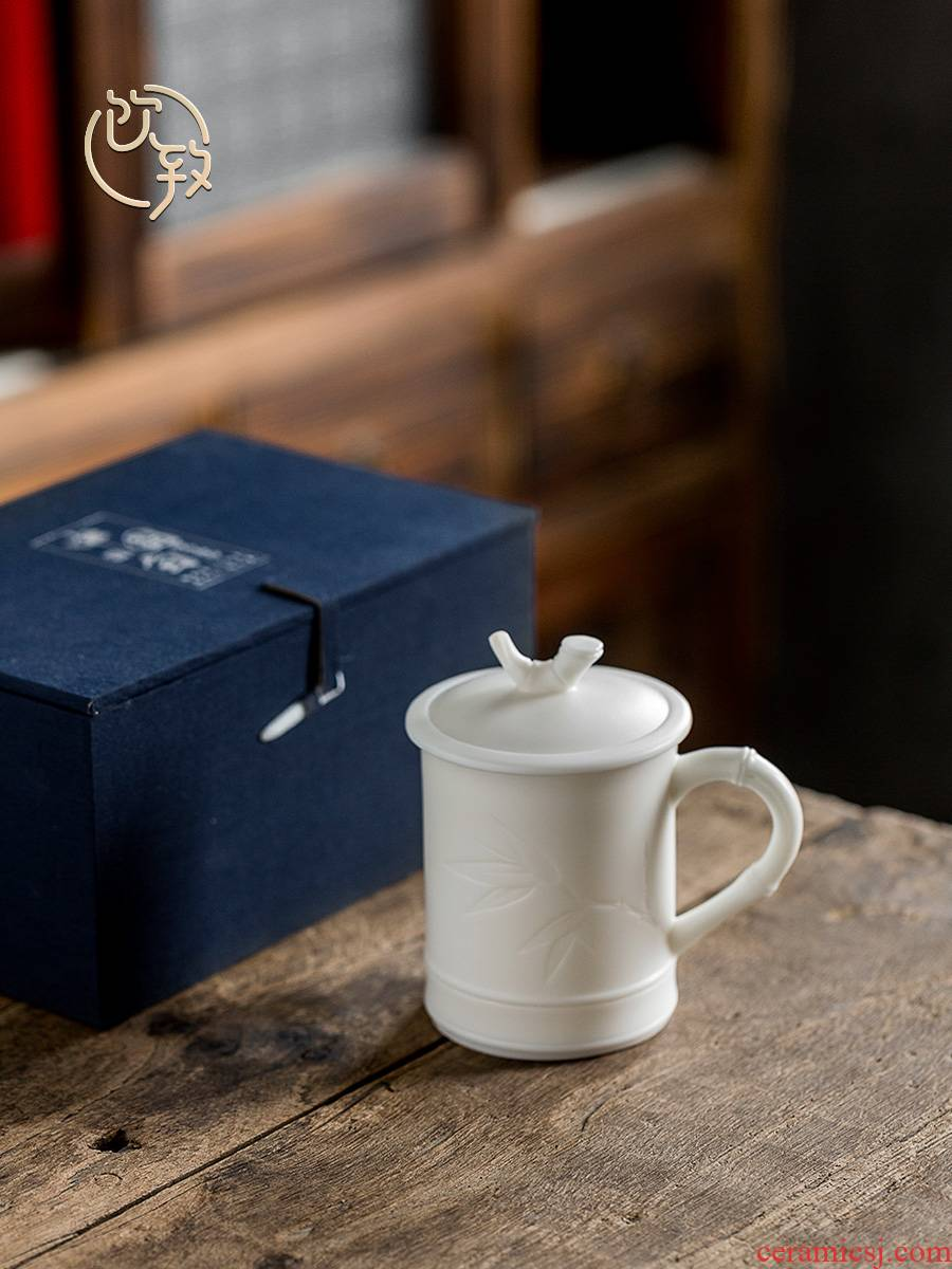Ultimately responds to dehua white porcelain biscuit firing office cup of jade porcelain ceramic mugs to ultimately responds cup individual cup home tea cup