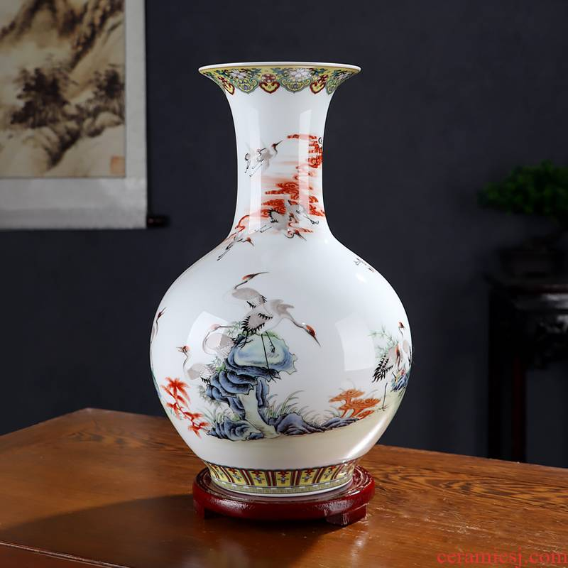 Fine ceramic vase vase of porcelain of jingdezhen chinaware big sitting room adornment manual craft Chinese flowers, dried flowers
