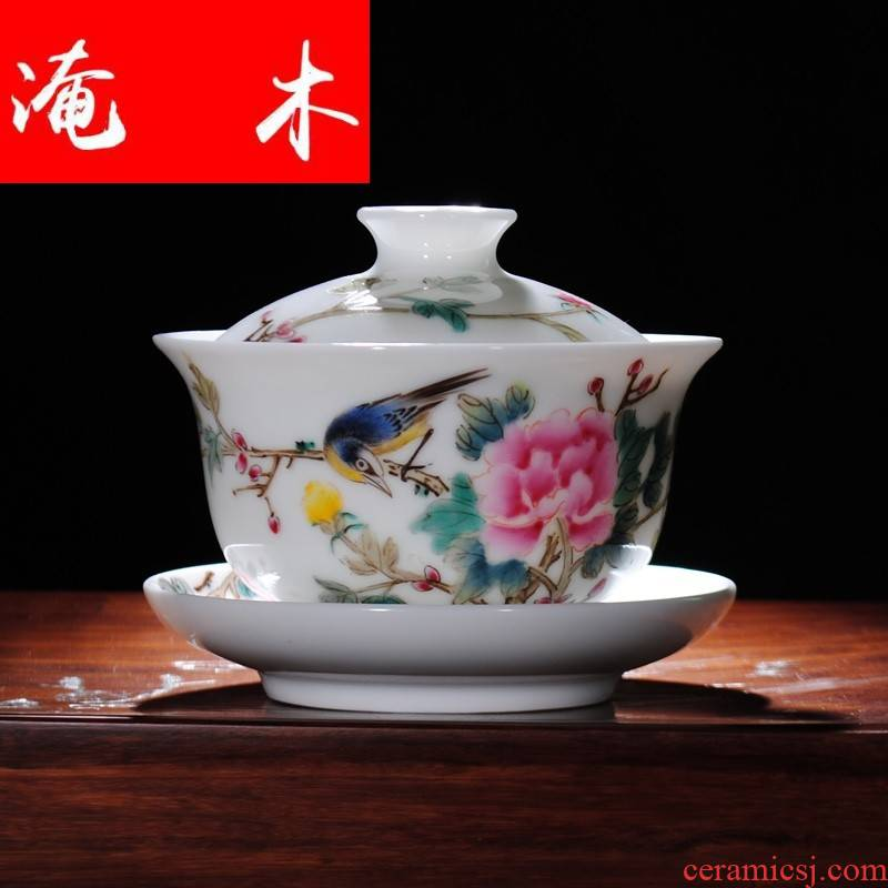 Submerged wood jingdezhen hand - made ceramic tureen tea service manual powder enamel three bowl of kung fu tea cup of the big yards