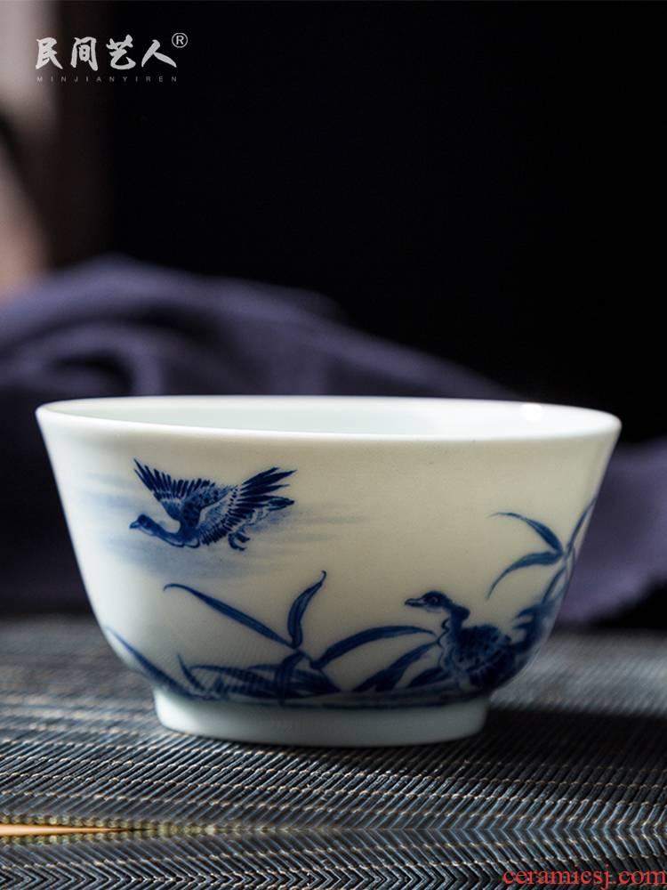 Jingdezhen ceramic hand - made master cup all hand blue LuYan figure kung fu tea cup bowl sample tea cup