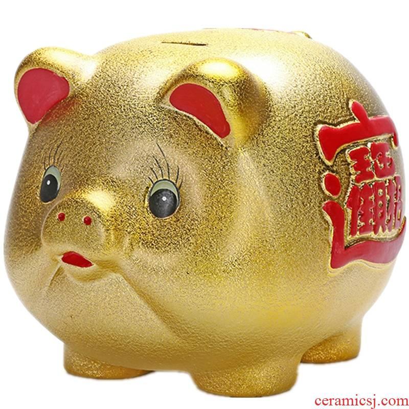 Lovely big change golden pig pig piggy bank money box size (golden) pig drop ceramics