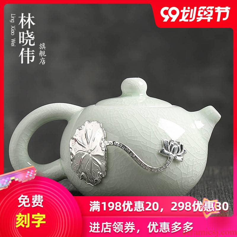 Slicing can raise your up xi shi pot of profiteering household single pot of jingdezhen ceramic teapot with silver little teapot contracted