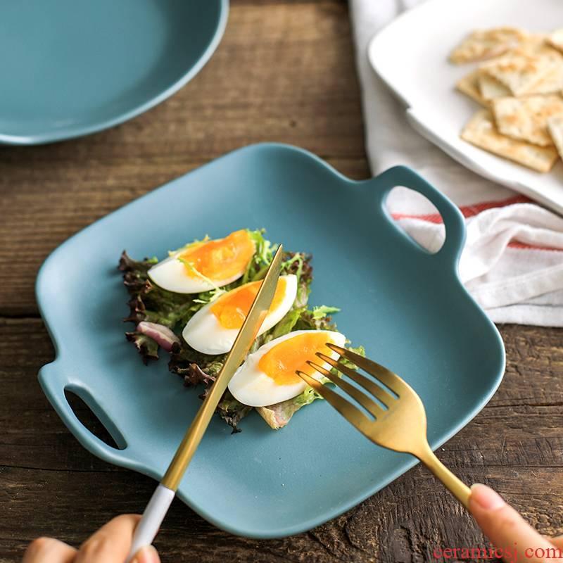 Nordic breakfast tray, matte enrolled plate rectangular disc western creative dish ears ceramic dish fish dish plate