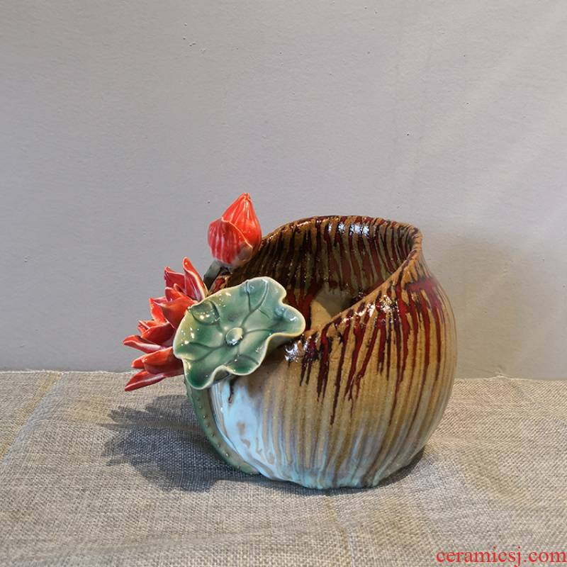 The Lotus Lotus leaf checking ceramic vase furnishing articles sitting room home decoration more meat flowerpot hydroponic flower implement shiwan gongzai