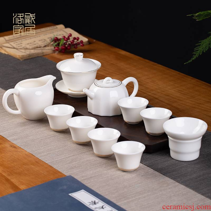 Kung fu tea set suit household jingdezhen ceramic teapot teacup tea office receive a visitor a complete set of gift boxes
