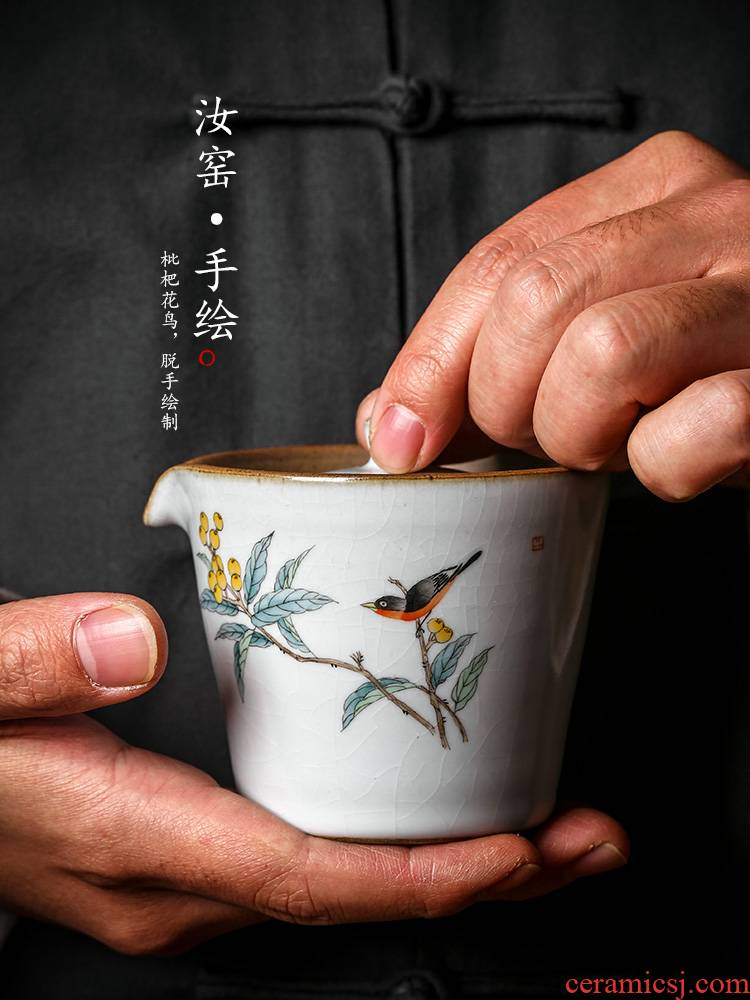 Jingdezhen tea ware kunfu tea hand grasp pot of hot your up proof hand - made loquat tea tureen tea cups large bird