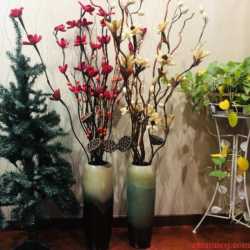 Jingdezhen ceramics vase landing dried flowers the glossy glaze sitting room adornment is placed lucky bamboo flower arrangement home decorations