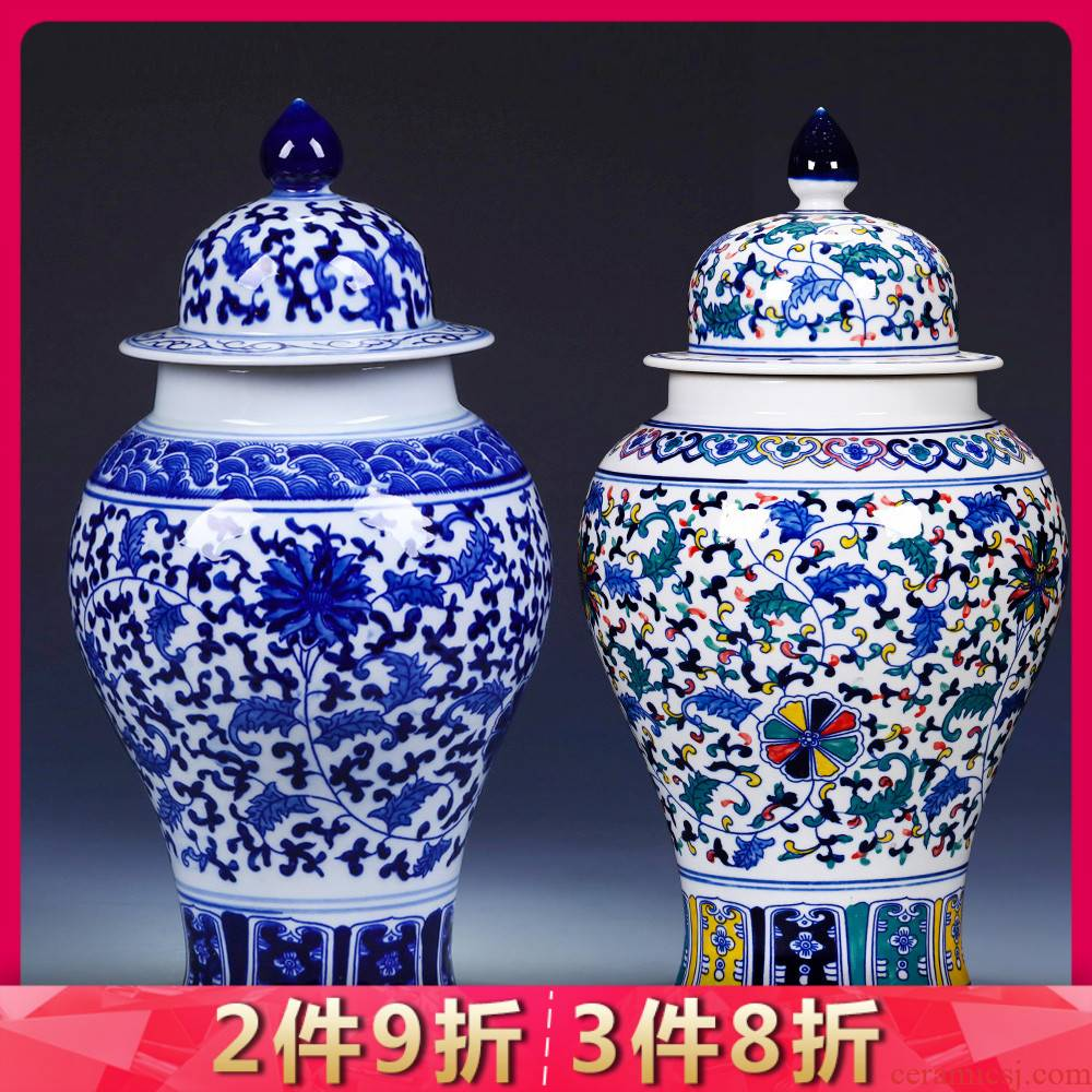 Jingdezhen blue and white porcelain general large pot sitting room place porch decoration of Chinese style household archaize ceramic vase