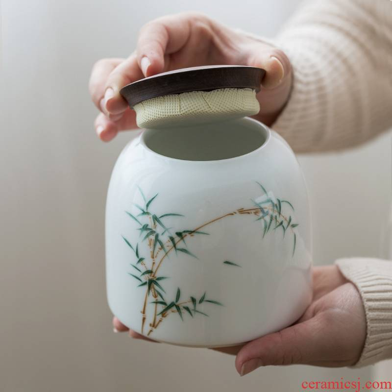 Ultimately responds to checking ceramic seal tea caddy fixings hand - made large tea caddy fixings storehouse of jingdezhen receives household storage tank