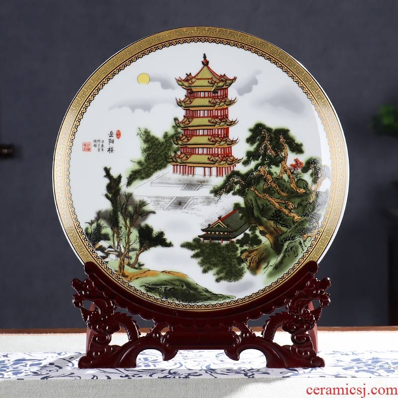 The Big four towers decorative plate of rich ancient frame of jingdezhen ceramics shanshui landscape wine sitting room adornment is placed