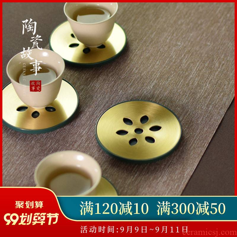 Ceramic story's brass lotus double the cup pad insulation against the hot pad cup saucer zen kung fu tea accessories