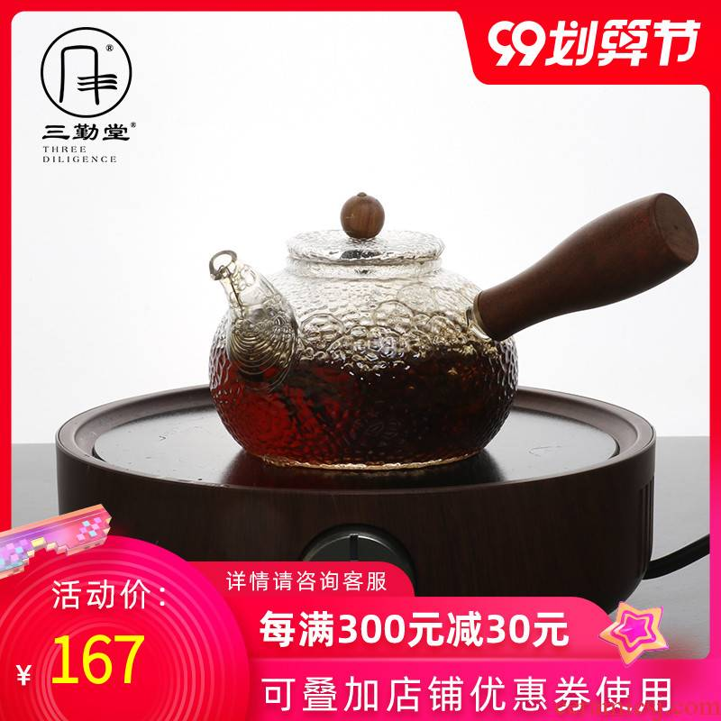 Three frequently side hall hand hammer heat - resistant glass teapot Japanese mercifully S25034 the electric TaoLu boiled tea, the teapot