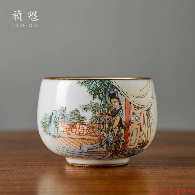 Shot incarnate your up hand - made of red chamber wonderful jade cup of jingdezhen ceramic kung fu tea master sample tea cup cup single CPU