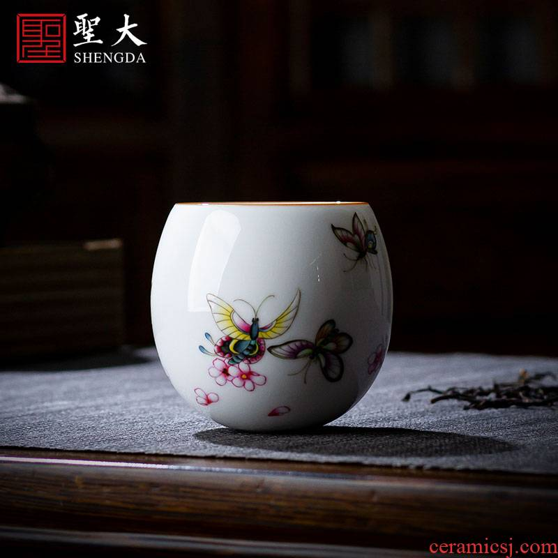 Holy big ceramic kung fu tea master cup hand - made famille rose flower butterfly not cup of jingdezhen manual sample tea cup of tea