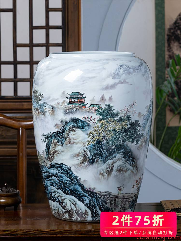 Jingdezhen ceramics painting and calligraphy scrolls cylinder calligraphy and painting to receive tube ground study vase sitting room adornment is placed