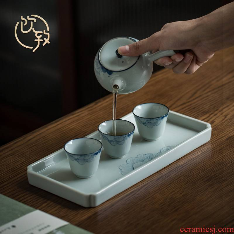 Hand of jingdezhen blue and white porcelain clay side to put the little teapot household dry terms cups dish kung fu tea set