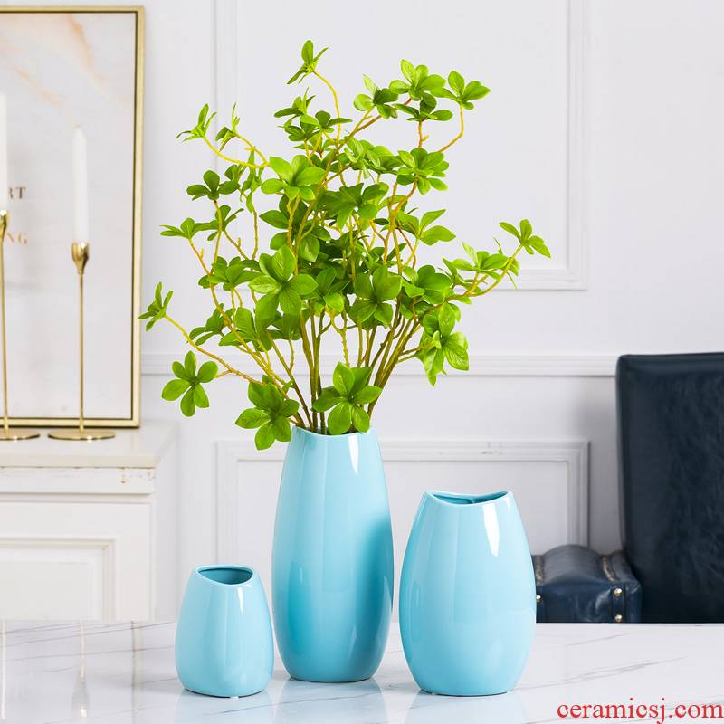 Ceramic vase furnishing articles the Nordic idea contracted sitting room blue modern table dry flower decoration flower arranging water raise flowers