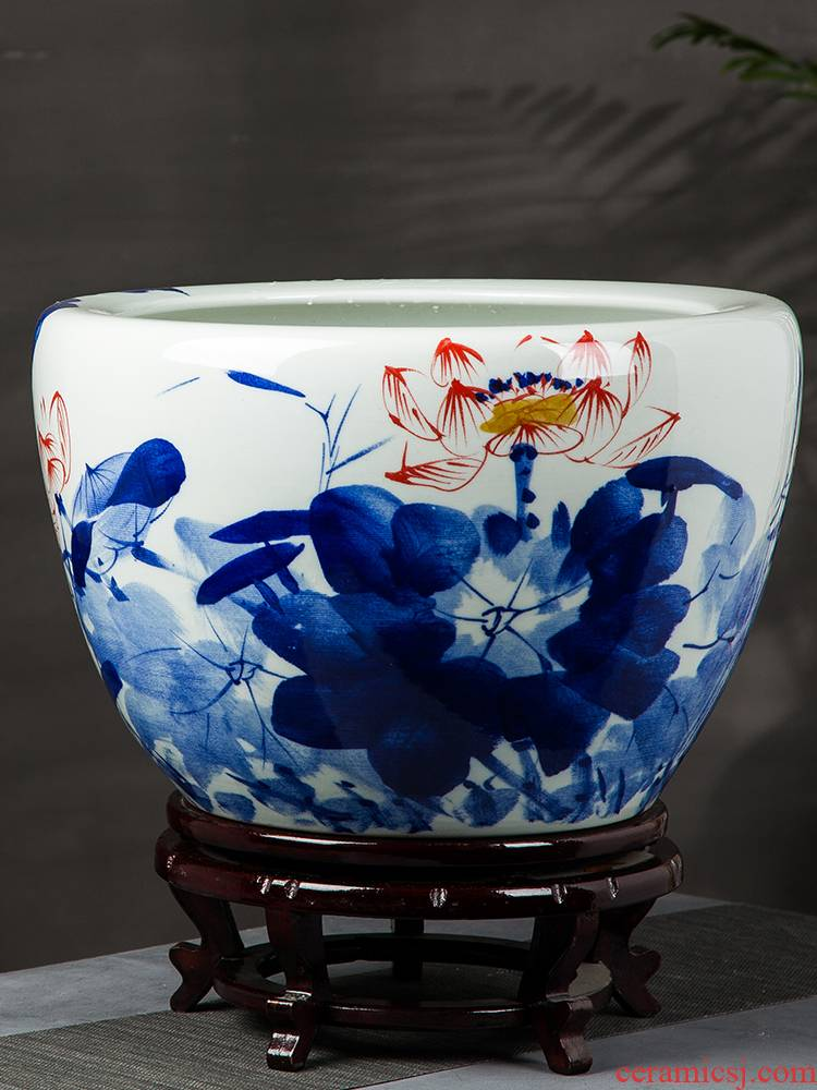 Basin of jingdezhen ceramics hand - made oversized tank lotus garden of fruit trees and potted is suing large landing place