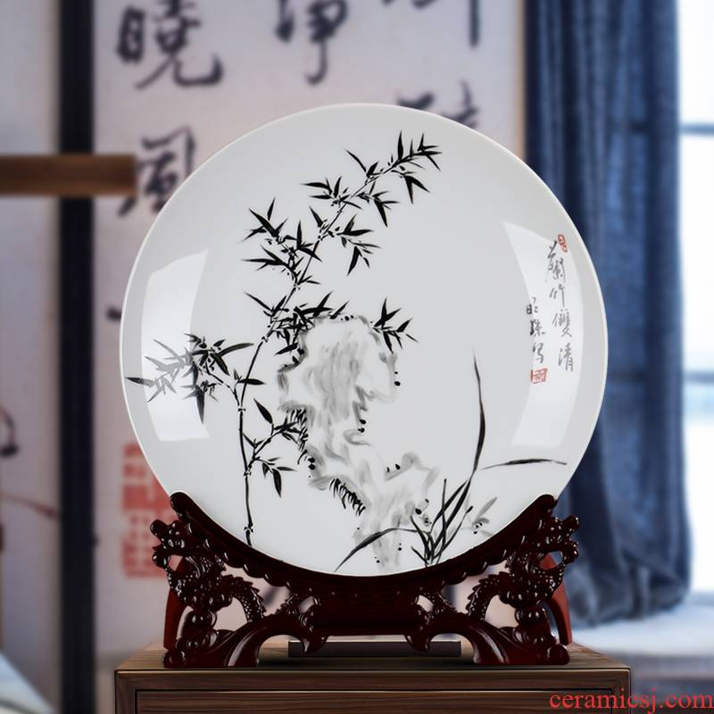 Hand - made ceramic decoration plate of jingdezhen porcelain furnishing articles sitting room sat dish hang dish LanZhu rich ancient frame wine arts and crafts