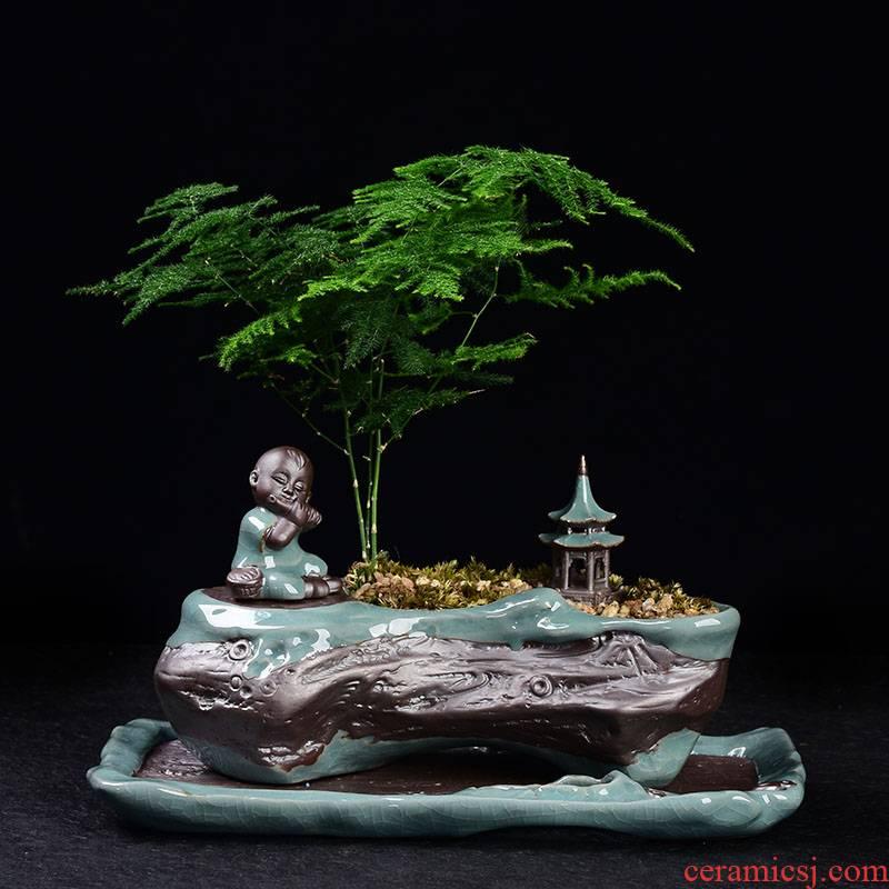 Elder brother up take spoil flowerpot desktop zen mini furnishing articles ceramic micro monk landscape bonsai landscape ornaments