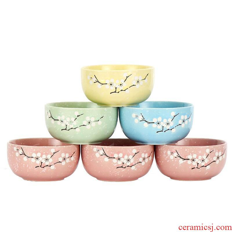 The kitchen hit four bowls of four chopsticks Japanese creative household tableware ceramic bowl set bowl chopsticks sets rice bowls of soup
