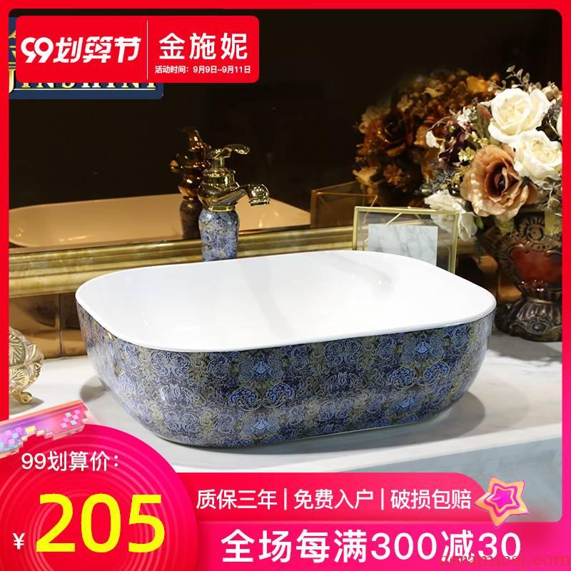 Northern European art ceramic stage basin sink household toilet lavatory faucet heightening basin restoring ancient ways