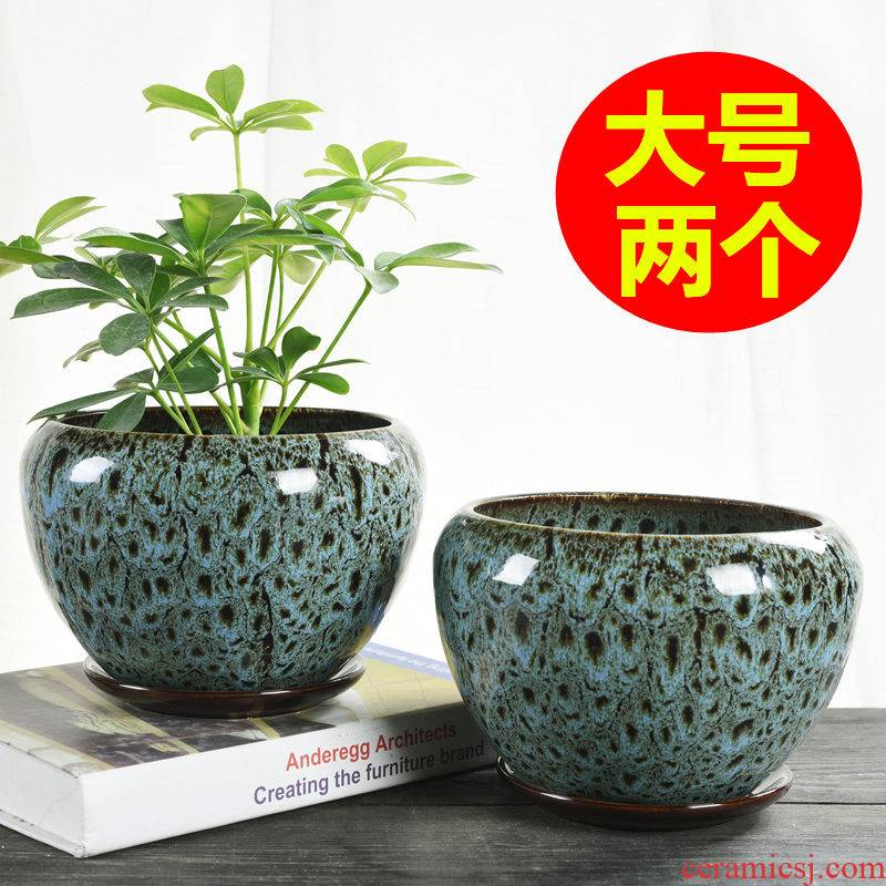 Large ceramic flower POTS with tray was special offer a clearance of creative move money plant bracketplant mostly meat wholesale flower pot