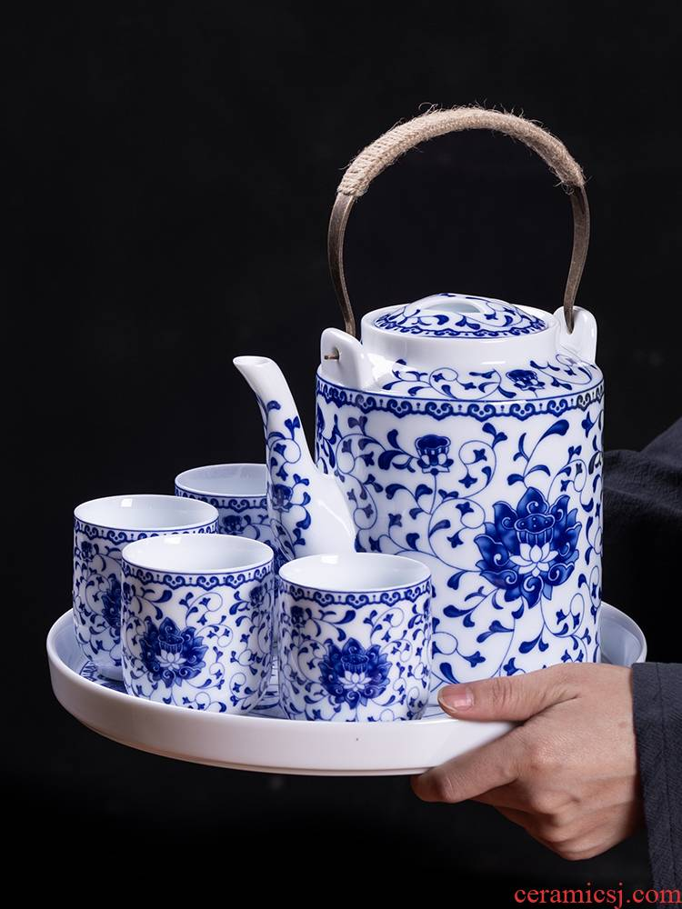 Jingdezhen ceramic teapot cool household girder kettle pot teapot high - capacity old large cold suit kettle