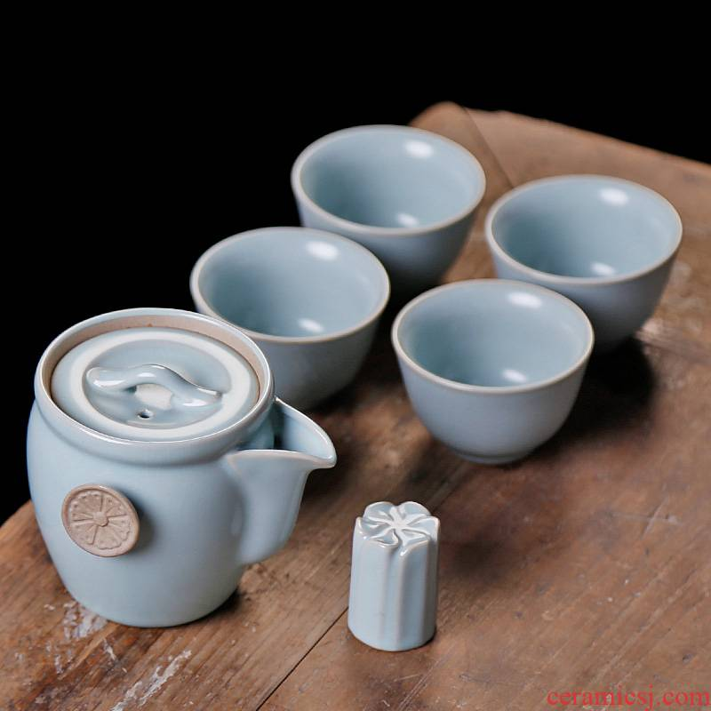 Your up with a pot of four cups of portable travel tea set small suit ceramic home office kung fu tea tea cup