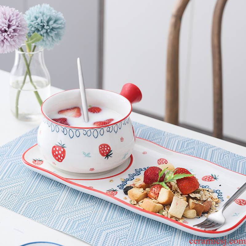 One Japanese breakfast tray feed ceramic creative home plate suit handle children 's breakfast bowl of dinner plate