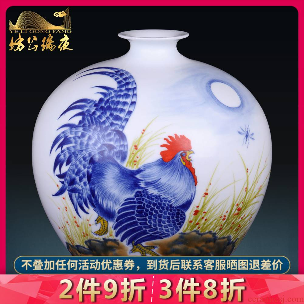 Jingdezhen blue and white porcelain vases, flower arrangement sitting room place prosperous Chinese style household act the role ofing is tasted TV ark, decoration