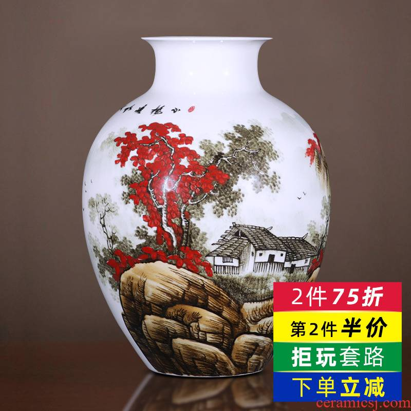Under the famous jingdezhen ceramics glaze color hand - made landscape of the big flower bottle landed large - sized furnishing articles household act the role ofing is tasted