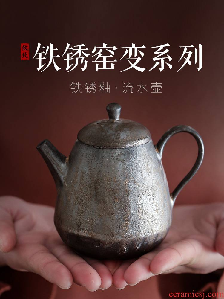 Ultimately responds to gold ceramic teapot trumpet tea ware coarse ceramic tea set single pot of restoring ancient ways variable contracted kunfu tea boiled tea