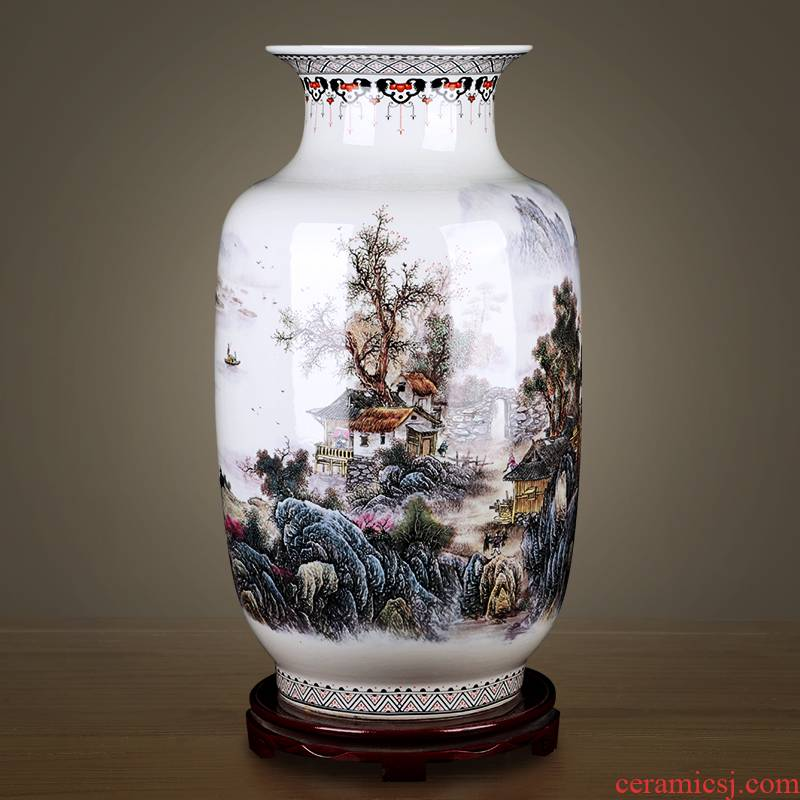 Jingdezhen ceramics powder enamel antique Chinese style every year more than white gourd vase of large sitting room adornment is placed