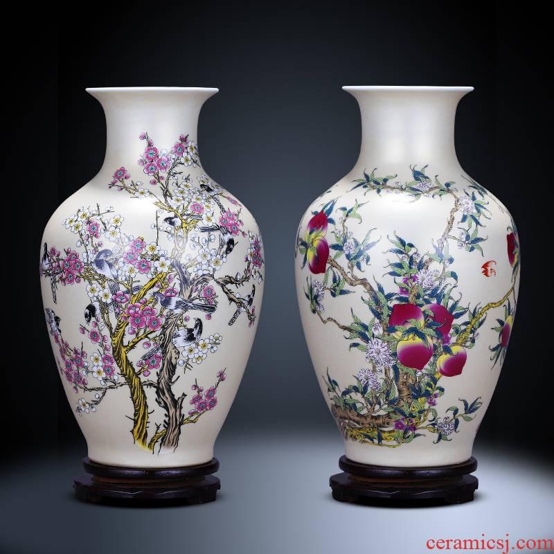 Jingdezhen ceramics vase live figure of modern Chinese style household golden flower arrangement sitting room porch decoration furnishing articles