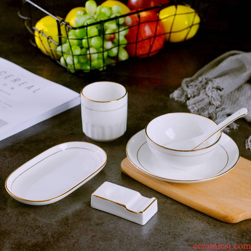 Jingdezhen tableware creative hotel table dishes spoon towel plate up phnom penh chopsticks rack in suit style of restaurant